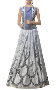 Embroidered gown with block print