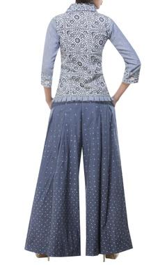 Printed shirt with embroidered palazzo pants