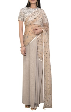 Siddhartha Tytler Embroidered sari with laser stripe blouse