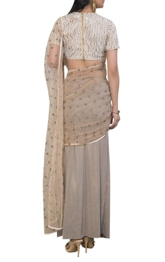 Embroidered sari with laser stripe blouse