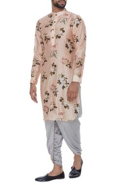 Chanderi floral printed kurta with dhoti pants