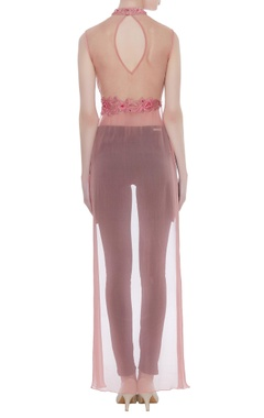 Embroidered net crop top with chiffon trail
