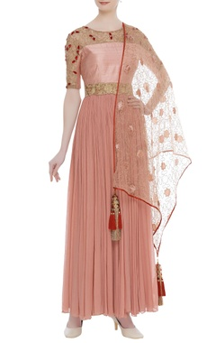 Chiffon anarkali with churidar, dupatta & belt