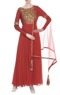 Chiffon anarkali with churidar & dupatta