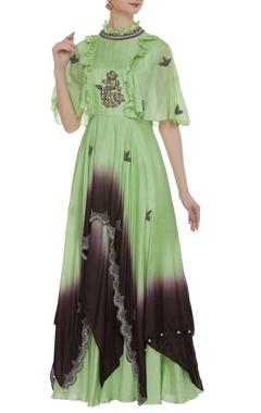 Aksh Ruffle embroidered kurta & skirt