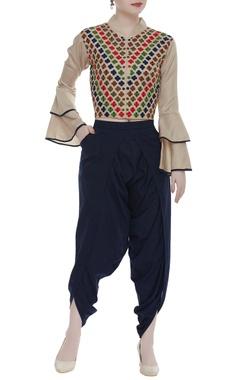 Aksh Linen satin jacket & dhoti pants