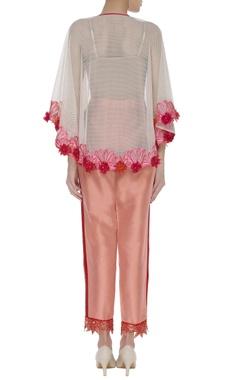 Soft net cape with 3D flower detailing
