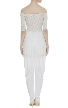 Embroidered kurta with dhoti pants and ruffle scarf