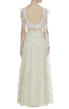 Frilly blouse with side slit lehenga