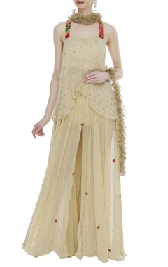 Layered skirt with asymmetric blouse and ruffle dupatta