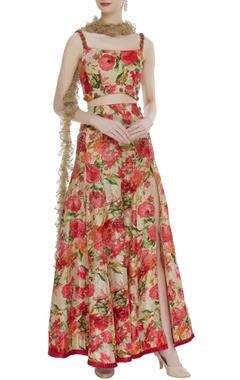 Flower printed lehenga with blouse and ruffle dupatta