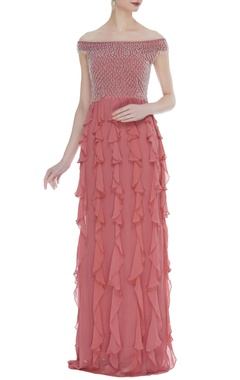 Arpan Vohra Embroidered frill detail gown