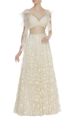 Arpan Vohra Ruffle sleeves blouse with embroidered lehenga