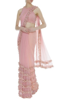 Arpan Vohra Frilly & embroidered sari with blouse