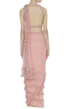 Frilly & embroidered sari with blouse