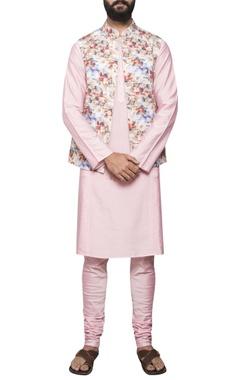 Sadan Pande - Men Kurta with printed jacket and churidar