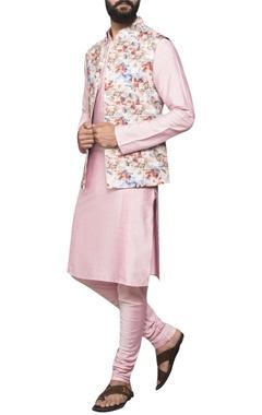 Kurta with printed jacket and churidar