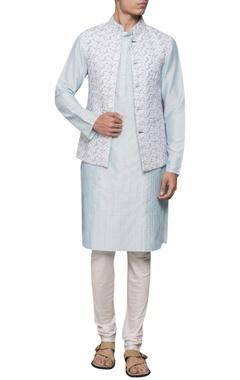 Sadan Pande - Men Pin tuck kurta with printed jacket and churidar