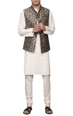 Sadan Pande - Men Pin tuck kurta set with printed jacket