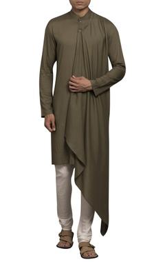 Sadan Pande - Men Asymmetric hemline draped kurta
