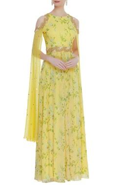 Kresha Lulla Floral printed cape style anarkali dress