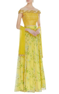 Embroidered raw silk blouse with floral lehenga & dupatta