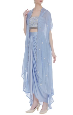 Raw silk pearl blouse with dhoti skirt & cape