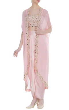 Mirror work & pearl dhoti set