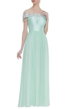 Kresha Lulla Raw silk & georgette pearl off-shoulder anarkali dress