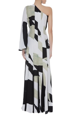 Abstract hand painted one shoulder gown