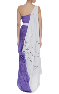 Hand painted one shoulder gown