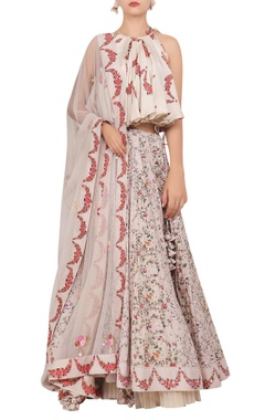 Nikasha Floral printed flared blouse with lehenga & dupatta