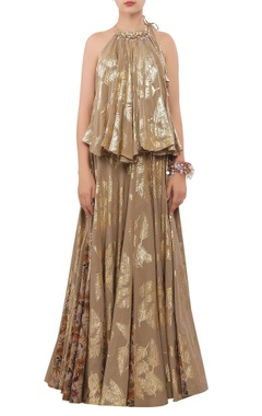 Nikasha Foil printed sequin encrusted halter blouse with lehenga