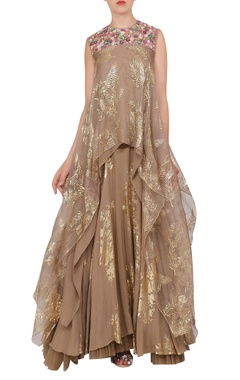 Nikasha Organza asymmetric tunic with crepe silk foil printed lehenga