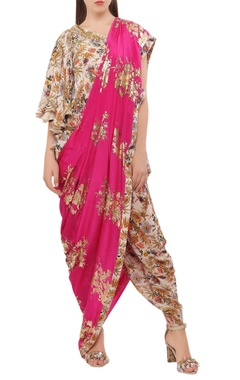 Floral hand painted dhoti sari with blouse