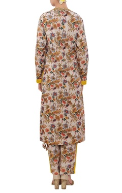 Floral hand painted & hand embroidered sequin neckline kurta set