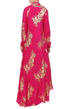 Crepe silk sequin embroidered blouse with cape & dhoti pants