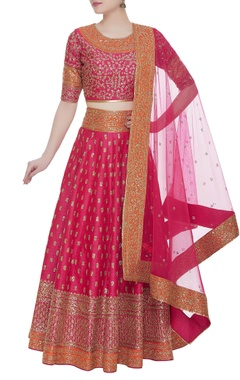 Zari embroidered lehenga set with net dupatta