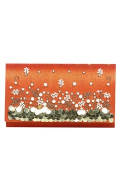Vian Zardozi & pearl hand embroidered clutch