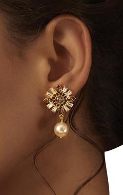 Suneet Varma floral shape drop earrings
