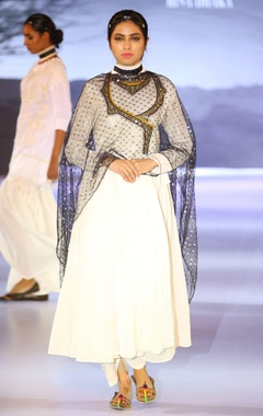 Embroidered anarkali kurta with dupatta and palazzo pants