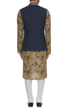 Jacket with floral printed kurta & churidar