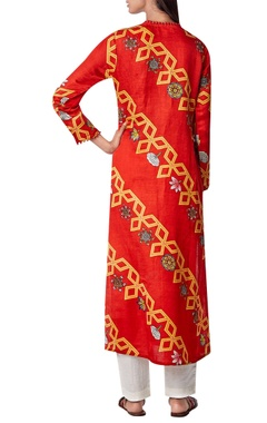 Printed kurta with loop button detail