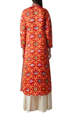 Printed long kurta with side slit