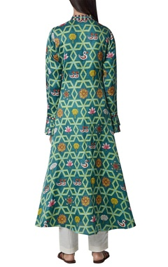 Flared long kurta with frill detail