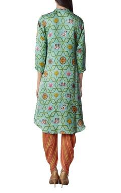 Asymmetric printed kurta with dhoti pants