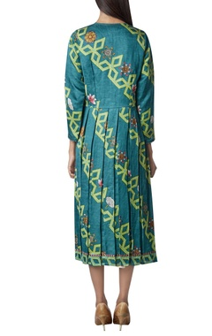 Open printed kurta with asymmetric dress