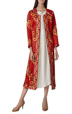 Swati Vijaivargie Printed open jacket with asymmetric dress