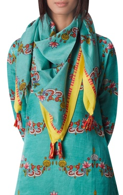 Printed cotton silk scarf