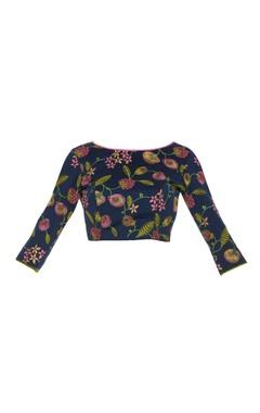 Threadwork embroidered sari blouse